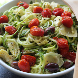 Lemon-Basil Zucchini Noodles with Roasted Tomatoes