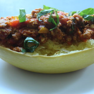 Sausage Marinara Spaghetti Squash Boat - this EASY and DELICIOUS recipe is one of my favorites to IMPRESS dinner guests! - www.happybellywholeheart.com